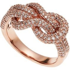 Effy 14K Rose Gold Diamond Ring ($2,000) ❤ liked on Polyvore featuring jewelry, rings, anel, white, knot ring, rose diamond ring, diamond accent rings, diamond enhancer ring and band rings