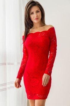 Seksowna koronkowa sukienka - CZERWONA M
