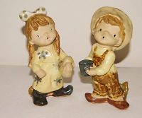 Vintage UC & CTI Boy Girl Pottery Stoneware Figurines Made in Japan Open Mouths
