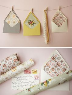 I'm so in love with these handmade vintage envelope liners seen at 100 layer cake via Happy Things. At Papersource you can get buy an envelope liner kit and then watch this step by step how-to video here for specifics in using it. You can find some vintage wallpaper here or ebay. I love this …
