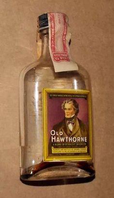 Old Hawthorne Miniature Liquor Bottle  (Mini 1930 Kentucky Whiskey Glass Bottles)