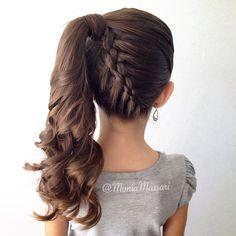 5 strand upside down french braid into ponytail by @mimiamassari