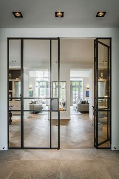 Guides to Choosing A Glass Door Design That'll Fit Your House - Haus - House Design, New Homes, House Styles, House Interior, Door Design, European House, Home, Double Sided Fireplace, Door Glass Design
