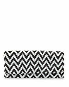 V1WP2 Moyna Chevron Beaded Clutch Bag, Black/White