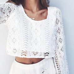 This white crochet crop top is super cute and can be used for both the fall and winter months, but it also transitions well into spring and summer. It's a definite purchase.