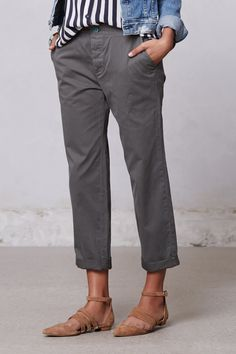 slouchy chinos. Believe it or not NY & co. have these , in pale khaki and light gray...(got the gray and beige)    khaki, and light gray, they also some silly pastels I didn't like,..anyway, they are a great fit and price!