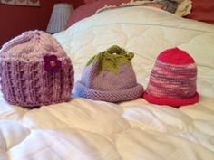 Hats made for new baby.