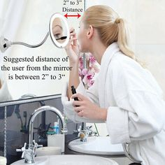or Magnifying Makeup Mirror with Light Adjustable Gooseneck Suction Cup The Bathroom Vanity with Lights has a Bright LEDs Perfect for Wall Mounted Magnification),