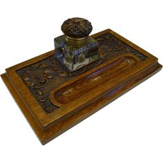 Antique English Carved Oak Inkstand / Inkwell c.1890