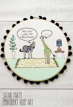 Fun Safari Party Embroidery Hoop Art | Flamingo Toes (with template)