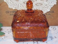 Vintage Tiara Glass Amber Honey Bees & Hive Covered Candy Box Dish Indiana Glass #IndianaTiaraGlass