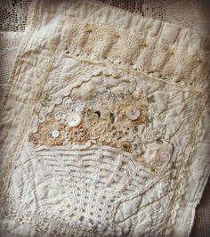 Flower basket - re-purposed quilt