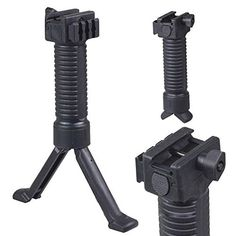 PROSUPPLIES High Quality Bipod Holding System with Side Picti-inny System for Mounting Laser or Flashlight or Others, with Steel Insert Push Out Legs