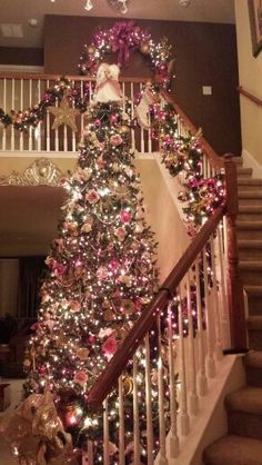 Below are the Pink Christmas Tree Decoration Ideas You Will Totally Love. This article about Pink Christmas Tree Decoration Ideas … Victorian Christmas Tree, Noel Christmas, Winter Christmas, Christmas Lights, Christmas Staircase, Christmas Mantles, Vintage Christmas, Christmas Ornaments, Pink Christmas Tree Decorations