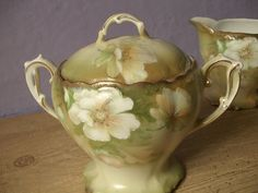 antique green sugar bowl and creamer set P T