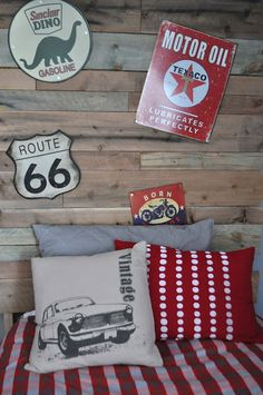 Rustic Vintage Boys Room- Enzo's room.... same style but use motorcycles