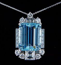 ART DECO, 26.0ct EUROPEAN DIAMOND & AQUAMARINE, 18kt GOLD NECKLACE #necklace #diamond #aquamarine #gold