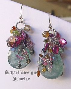 Large Moss Aquamarine Briloettes topped with Shaded Tourmalines in Pink, Green, Gold and Rose and Raspberry Keishi Perals | Sterling Silver | Luxe Gemstone Dangle Earrings |Schaef Designs Gemstone & Pearl Jewelry | online jewelry boutique | San Diego, CA by St_Perla #jewelryonline