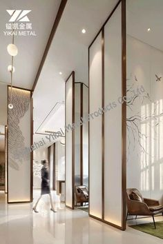 Metal Stainless Steel Partition Screen Showroom Interior Design, Lobby Interior, Hotel Lobby Design, Partition Screen, Chinese Interior, Living Room Background, Column Design, Function Room, Lounge Design