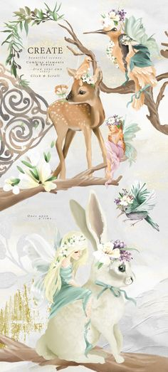 Once Upon A Time Fairy Digital Clipart fairytale Once Upon A Time, Clipart, Create Your Own Story, Animal Silhouette, Scrapbooking, Graphic Design Templates, Animal Decor, Fantasy, Watercolor Animals