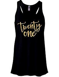 New Zoey's Attic Twenty One Birthday GOLD Glitter Sparkle Tank Top - Black online. Find the perfect Fruit of the Loom Tops-Tees from top store. Sku ATRE27369NMAM98790