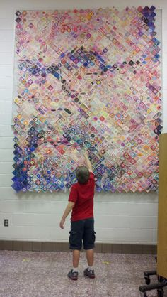 Getting CLOSE in the Art Room!  Using Chuck Close as inspiration for all school art project using post-it notes.