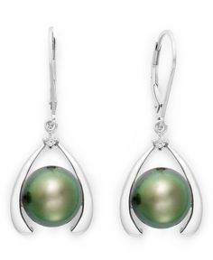 Sterling Silver Earrings, Cultured Tahitian Pearl (10mm) and Diamond Accent Leverback Earrings