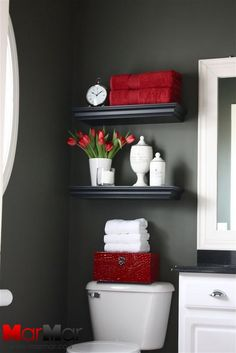 17.The toilet really has a lot of space around it for obvious comfort. The best way to use this to your advantage is to create shelves on top with space to put towels and lavatories.