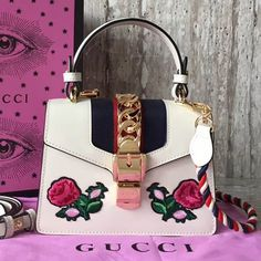 Gucci Sylvie Embroidered Flower Leather Top Handle Mini Bag 470270 Tips: I would really like to recommend this site h. Gucci Sylvie Bag, Gucci Handbags Outlet, Designer Bags For Less, Embroidered Flowers, Bag Sale, Hobo Bag, Mini Bag, Purses And Bags, Handle