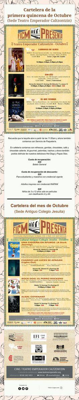 Cartelera del mes de Octubre para ambas sedes ¡Nos Vemos en el Cine!