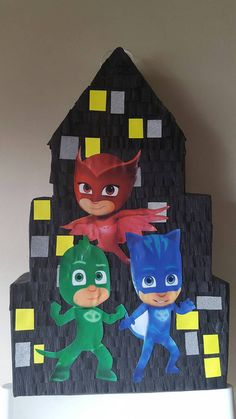 Pinata inspired by pj masks ιδέες γενεθλίων, ideas para fiestas, δωράκια, π Pj Masks Pinata, Festa Pj Masks, Pj Masks Valentines, Valentine Box, 4th Birthday Parties, 3rd Birthday, Birthday Ideas, Geronimo, Mask Party