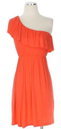 Adorable one shoulder orange ruffle dress