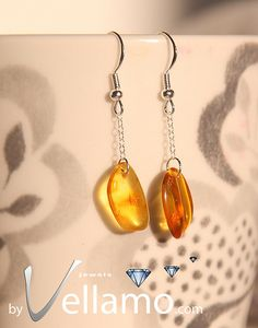 Sterling silver earrings with natural Baltic amber by byVellamo, $17.00