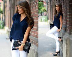 White Jeans & Navy Blouse | Marianna Mäkelä