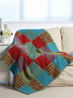 Textured Crochet Blocks Afghan | Yarn | Free Knitting Patterns | Crochet Patterns | Yarnspirations