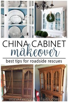 Is a new china cabinet WAY too expensive? Check out my china cabinet makeover and I'll show you 7 steps to update an old hutch with your own style in mind! Refinished China Cabinet, Farmhouse China Cabinet, Painted China Cabinets, Repurposed China Cabinet, Painted Hutch, Furniture Projects, Furniture Makeover, Diy Projects, Furniture Online