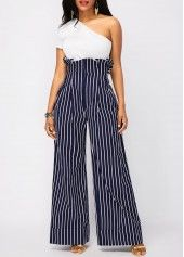 One Shoulder White Top and High Waist Pants | modlily.com - USD $35.97