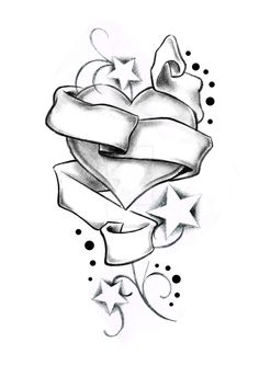 Heart Stars and Banner by Boise of Lowrider INK by on DeviantArt Tattoo Design Drawings, Art Drawings Sketches Simple, Pencil Art Drawings, Love Drawings, Easy Drawings, Drawings Of Hearts, Cool Heart Drawings, Love Heart Drawing, Skull Coloring Pages