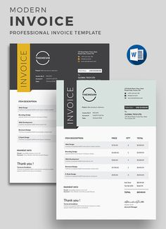 Buy Invoice by on GraphicRiver. This premium Modern invoice template belongs MS Word and AI, EPS, PSD, PDF versions. This template is customizab. Invoice Design Template, Quote Template, Letterhead Design, Stationery Design, Templates, Invoice Example, Invoice Format, Business Branding, Business Card Logo