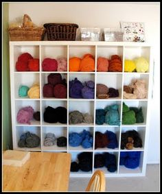 I'm not into yarn or knitting but I'm not going to lie the simple organization of this kinda made me horny.  I have this for my shoes but it could change.
