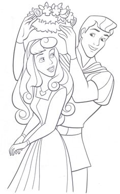 sleeping beauty coloring pages | Aurora from Sleeping Beauty and her Prince in this colouring page ...