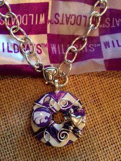 Pretty KSU Purple and White Chevron Washer Pendant by KsPeddlers