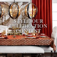 """Enter our Style Our Celebration Contest for your chance to win a $500 gift card and have your table design featured in our Fall Entertaining Guide! Here's how:   - Fill our the entry form (click this image)  - Follow Z Gallerie on Pinterest  - Create a board named """"My Festive Fall Table"""" and pin with inspiration from our """"Style our Celebration"""" pinboard    The most cohesive table wins!"""