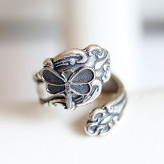 Antique Spoon Ring Dragonfly Ring Silver Spoon by emmagemshop, $22.99