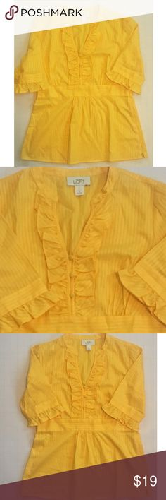 ANN TAYLOR LOFT TOP Ann Taylor The Loft yellow ruffled top. EUC. No flaws. Size 2.  Bust approximately 34 inches. 100% cotton. LOFT Tops Blouses
