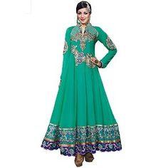 Admyrin Women's Georgette Embroidered Green Anarkali Suit