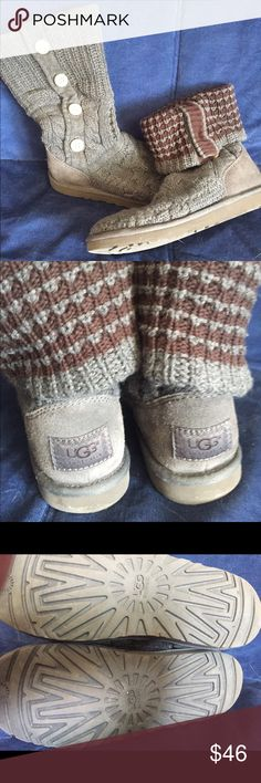 Maroon and Grey Knit Ugg Boots Maroon and Grey Knit Ugg Boots worn only once, in almost perfect condition! UGG Shoes