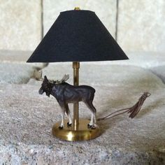 "2 1/4"" Moose Lamp Black Paper Shade Brass Artisan Unknown Dollhouse Miniature"