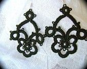 Tatted Lace Earrings - Art Nouveau - Sepia Edition. $15.00, via Etsy.