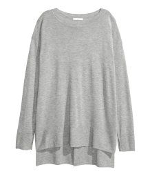 Finstickad tröja | Gråmelerad | Dam | H&M SE